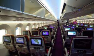 หน้าจอทีวีส่วนตัวขนาด 16 นิ้ว สำหรับชั้นธุรกิจบนเครื่อง Boeing 787-9 dreamliner